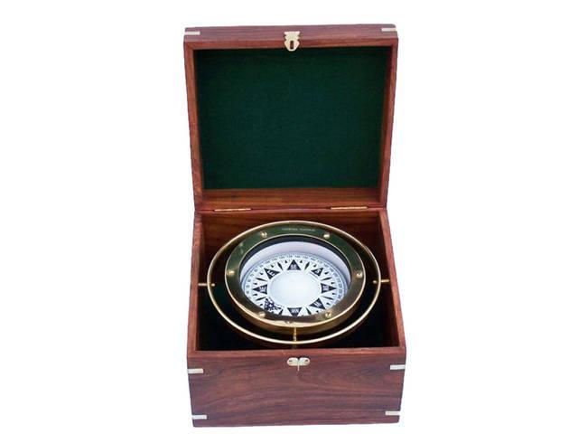 Antique Brass Gimbal Compass w- Rosewood Box 9