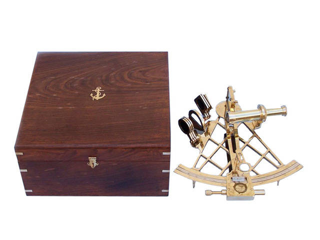 Admirals Brass Sextant with Rosewood Box 12