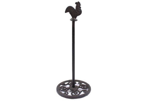 Cast Iron Rooster Extra Toilet Paper Stand 15