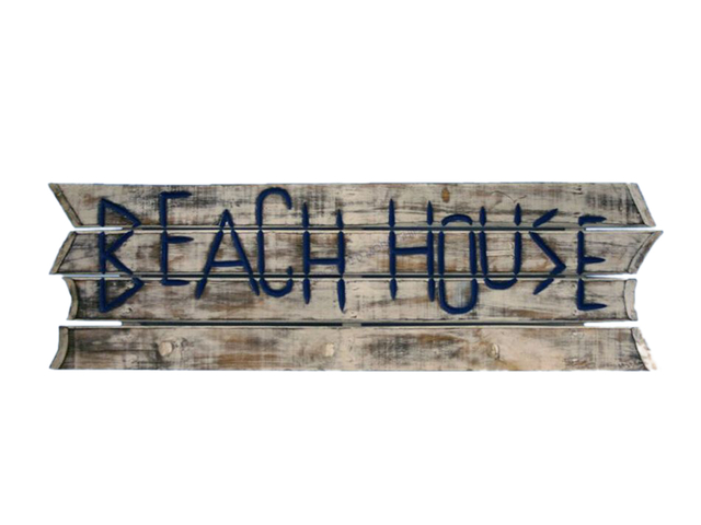 Wooden White Beach House Sign w-Pegs 38