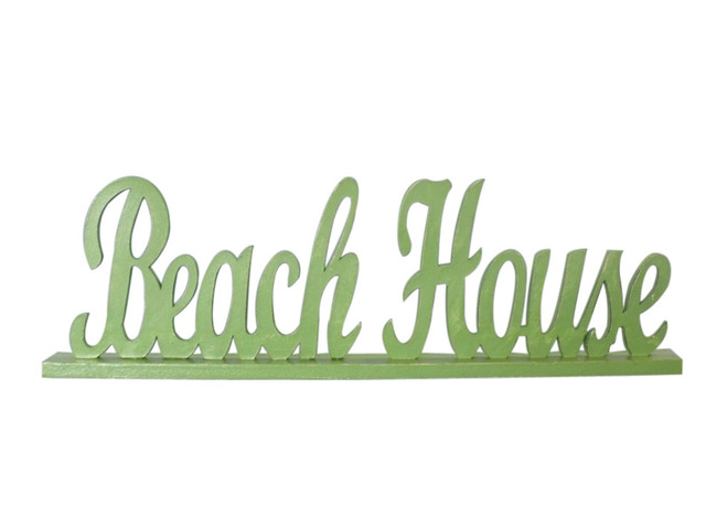 Wooden Green Beach House Table Word Sign 19