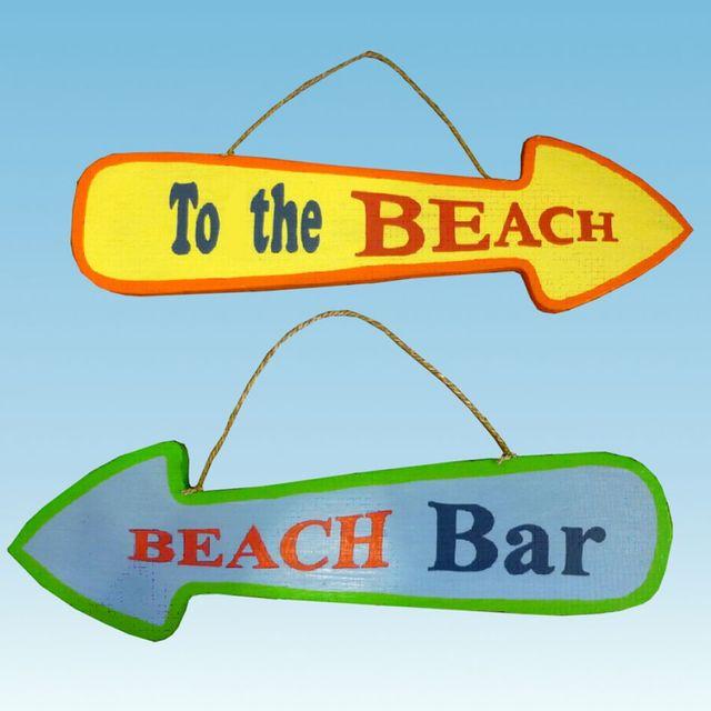 Wooden Beach Arrow Signs 20 - Set of 2