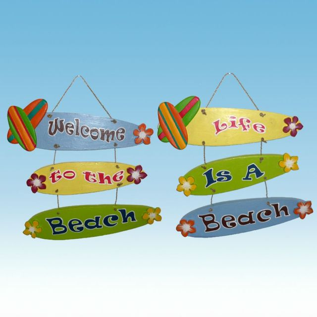 Wooden Hanging Beach Signs 15 - Set of 2