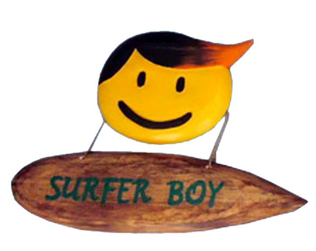 Wooden Surfer Boy Wall Plaque 14