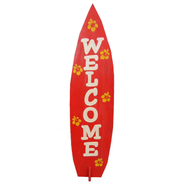 Wooden Surfboard Welcome Sign 36