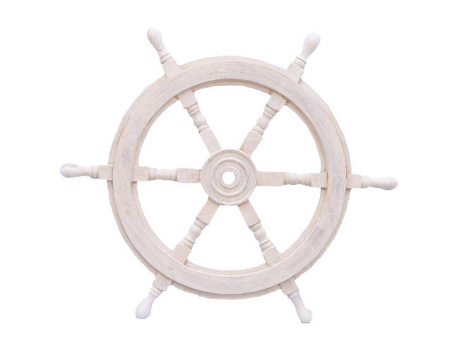 Classic Wooden Whitewashed Decorative Ship Steering Wheel 24