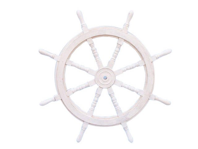 Classic Wooden Whitewashed Decorative Ship Steering Wheel 36