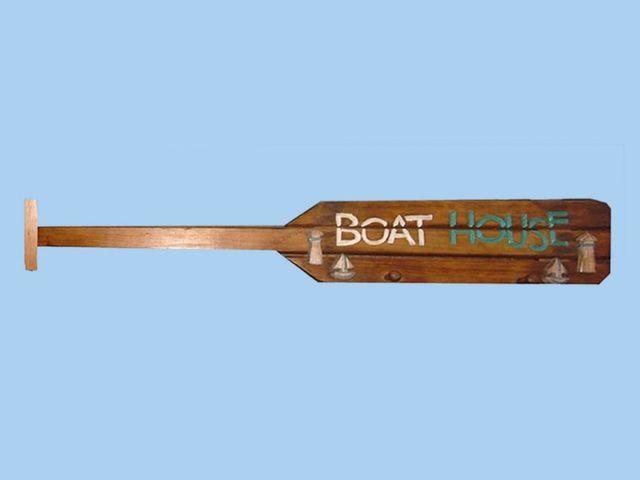 Wooden Brown Boat Oar Boat House Sign w- Pegs 39