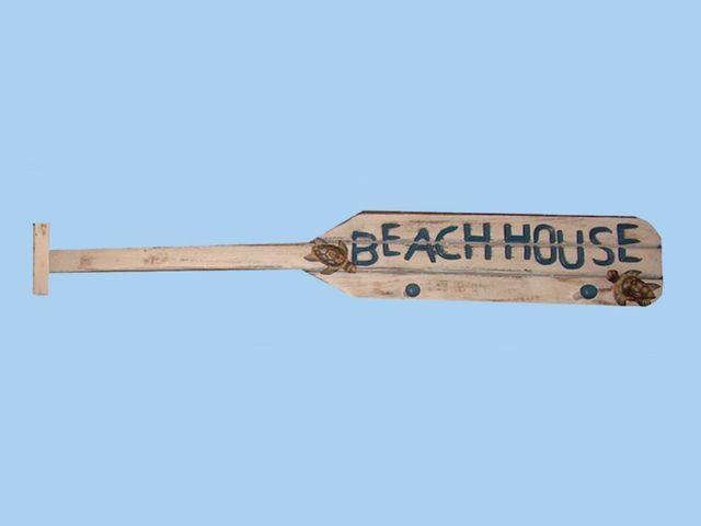 Wooden White Boat Oar Beach House Sign w- Pegs 39