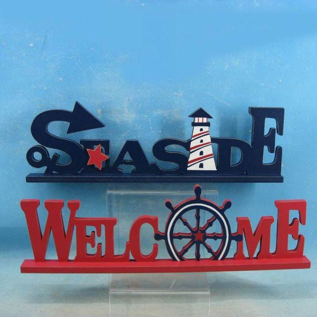 Set of 2 - Wooden Seaside Welcome Nautical Word Art 16