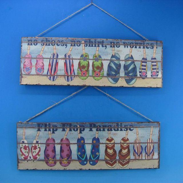 Wooden Flip Flop Wall Plaques 24 - Set of 2