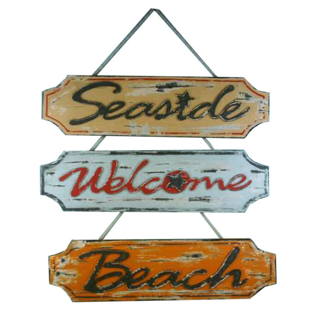 Set of 3 - Wooden Weathered Seaside Welcome Beach Plaque 23
