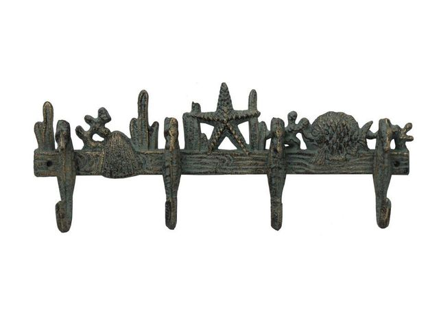 Antique Seaworn Bronze Cast Iron Wall Mounted Starfish with Seahorse Hooks 12