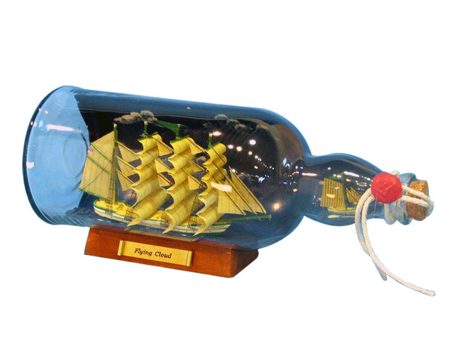 Green Flying Cloud Model Ship in a Glass Bottle w-Sky 11