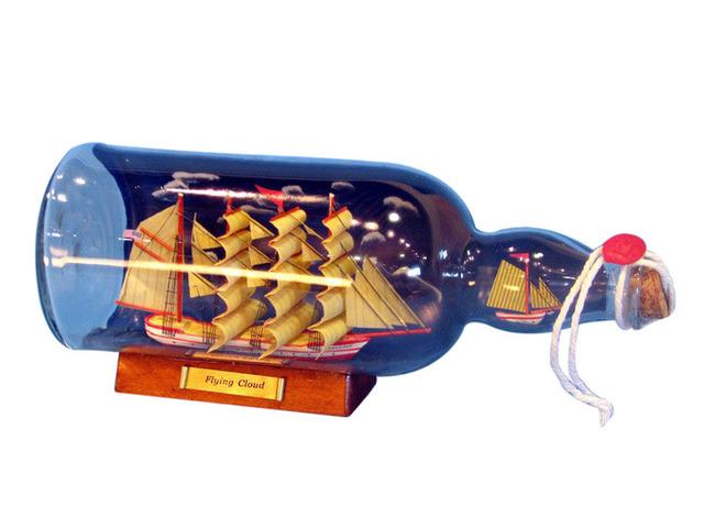 Red Flying Cloud Model Ship in a Glass Bottle w-Sky 11