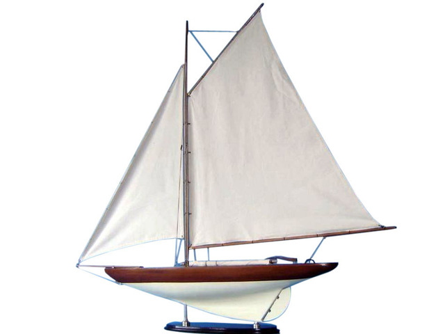 Wooden Americas Cup Challenger Model Sailboat Decoration 40 - White