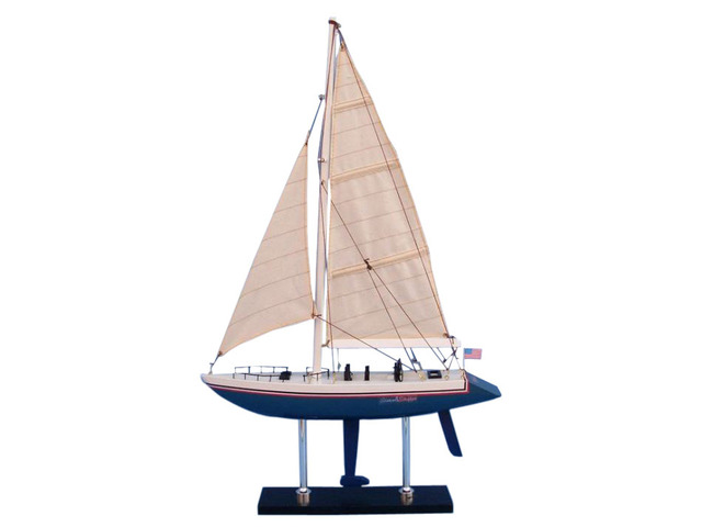 Wooden Stars and Stripes Model Sailboat Decoration 23