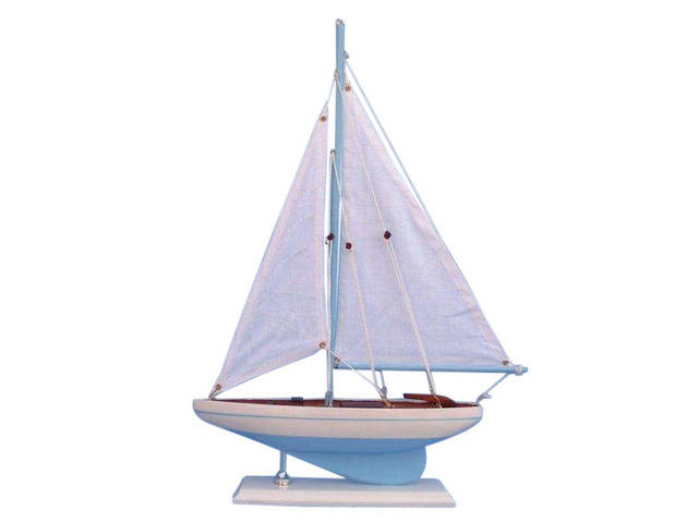 Wooden Light Blue Pacific Sailer Model Sailboat Decoration 17