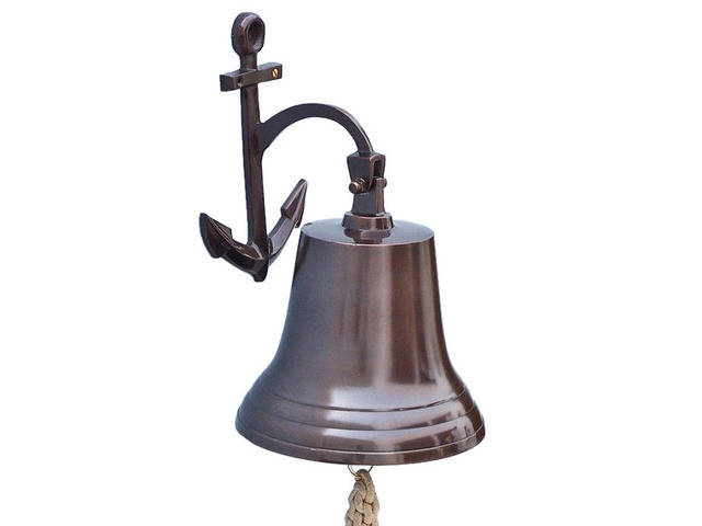 Antique Copper Hanging Anchor Bell 16