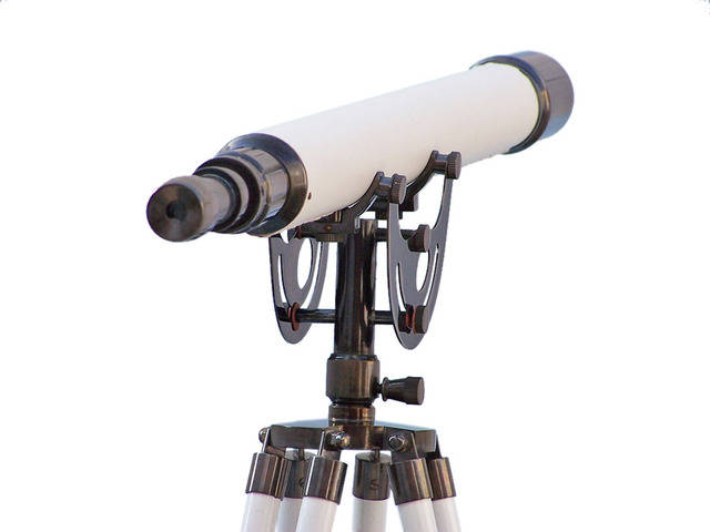 Floor Standing Oil-Rubbed Bronze-White Leather Anchormaster Telescope 65
