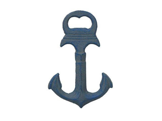 Rustic Light Blue Deluxe Cast Iron Anchor Bottle Opener 6