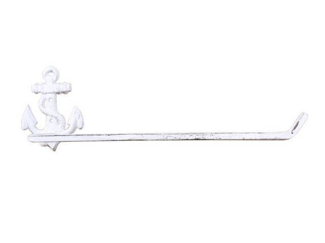 Whitewashed Cast Iron Anchor Wall Mounted Paper Towel Holder 17