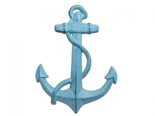 Rustic Dark Blue Whitewashed Cast Iron Anchor 17