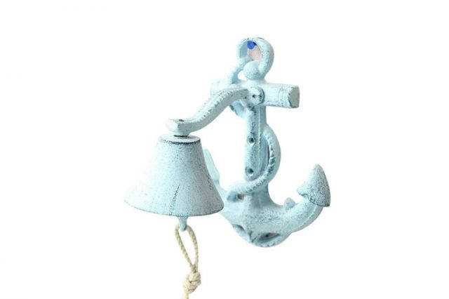 Dark Blue Whitewashed Cast Iron Wall Mounted Anchor Bell 8