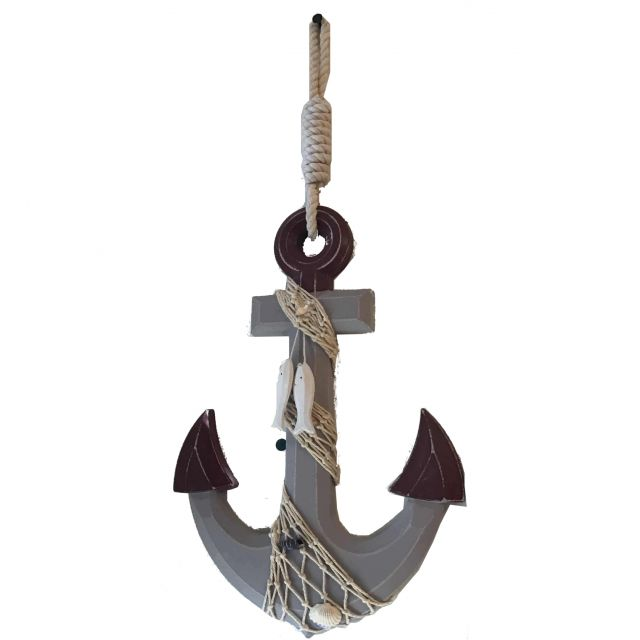 Wooden Rustic Decorative Anchor w- Hook Rope and Shells 13
