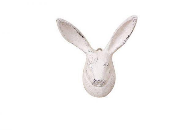 Whitewashed Cast Iron Decorative Rabbit Hook 5