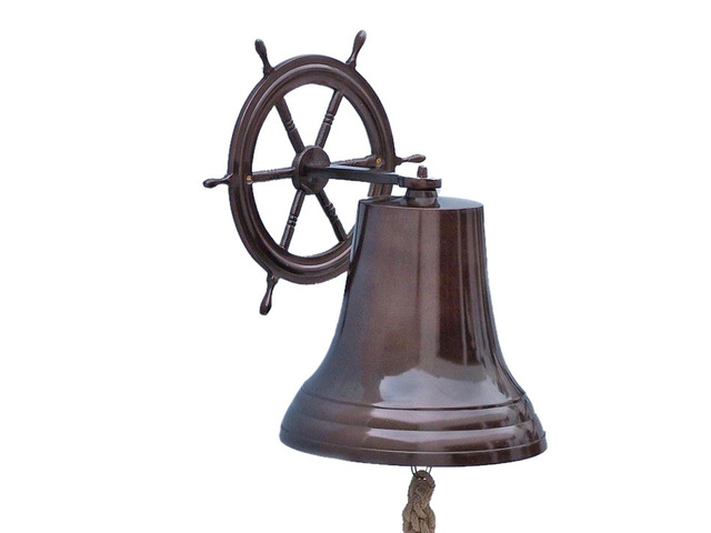 Antique Copper Hanging Ship Wheel Bell 18