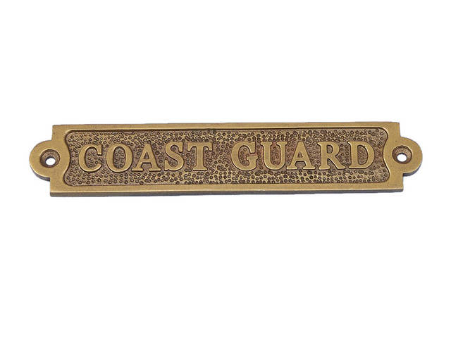 Antique Brass Coast Guard Sign 6