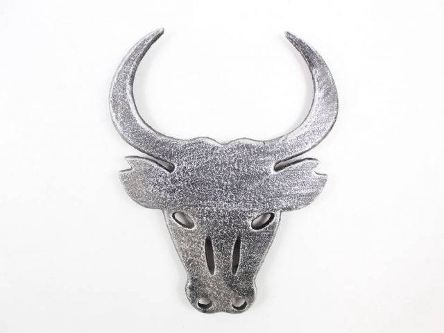 Rustic Silver Cast Iron Bull Trivet 10