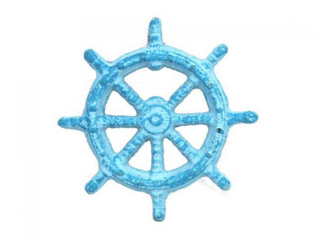 Light Blue Whitewashed Cast Iron Ship Wheel Bottle Opener 3.75