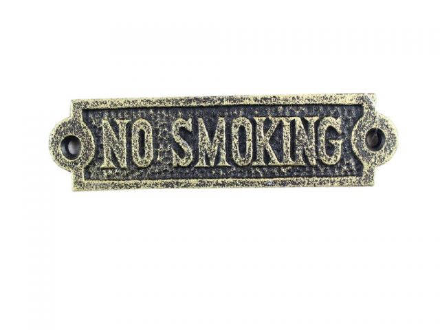Antique Gold Cast Iron No Smoking Sign 6