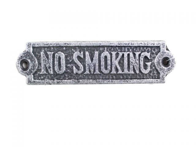 Antique Silver Cast Iron No Smoking Sign 6