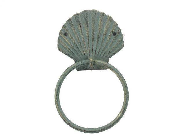Antique Bronze Cast Iron Seashell Towel Holder 8.5