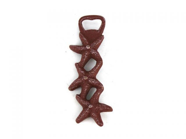 Red Whitewashed Cast Iron Triple Starfish Bottle Opener 7