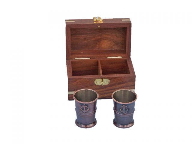 Antique Copper Anchor Shot Glasses With Rosewood Box 4 - Set of 2