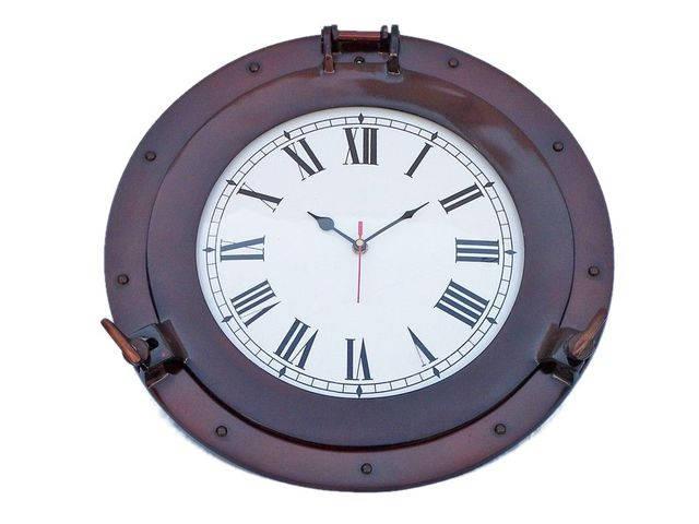 Antique Copper Deluxe Class Porthole Clock 15