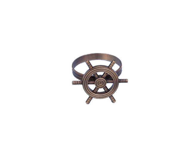 Antique Copper Ship Wheel Napkin Ring 2