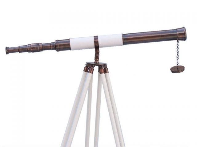 Admirals Floor Standing Antique Copper with White Leather Telescope 60