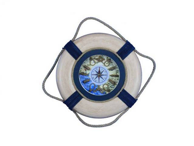 Vintage White With Blue Rope Bands Decorative Lifering Clock 15