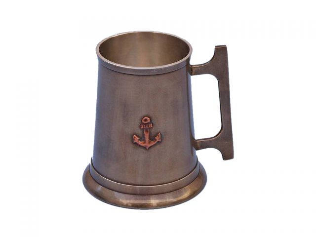 Antique Brass Anchor Mug With Cleat Handle 5