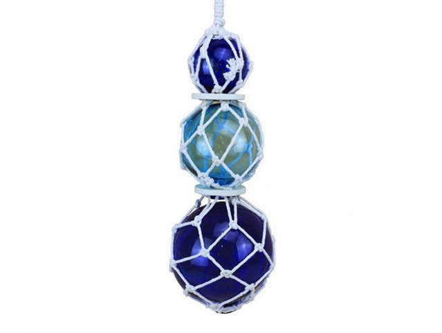 Blue - Light Blue - Blue Japanese Glass Ball Fishing Floats with White Netting Decoration 11