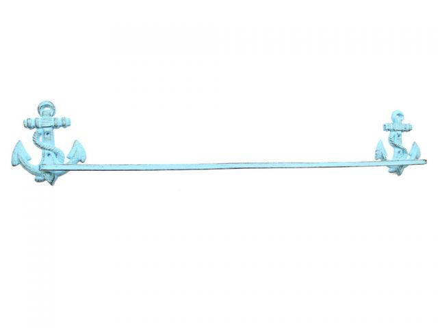Rustic Light Blue Cast Iron Anchor Bath Towel Holder 27