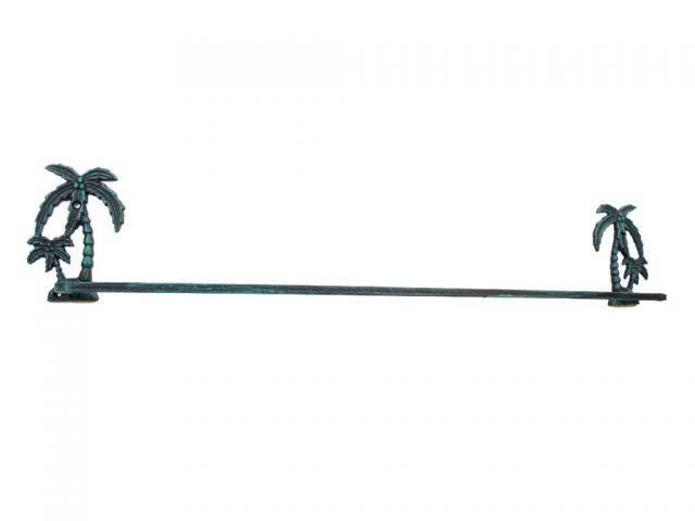 Seaworn Blue Cast Iron Palm Tree Bath Towel Holder 26
