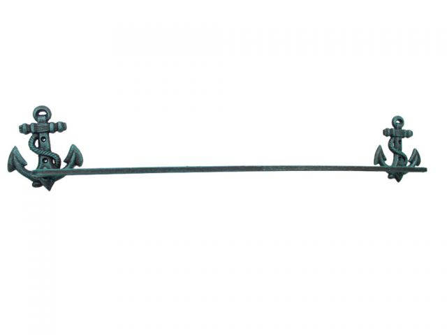 Seaworn Blue Cast Iron Anchor Bath Towel Holder 27