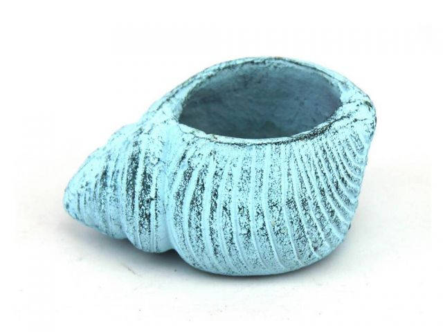 Dark Blue Whitewashed Cast Iron Seashell Decorative Tealight Holder 4