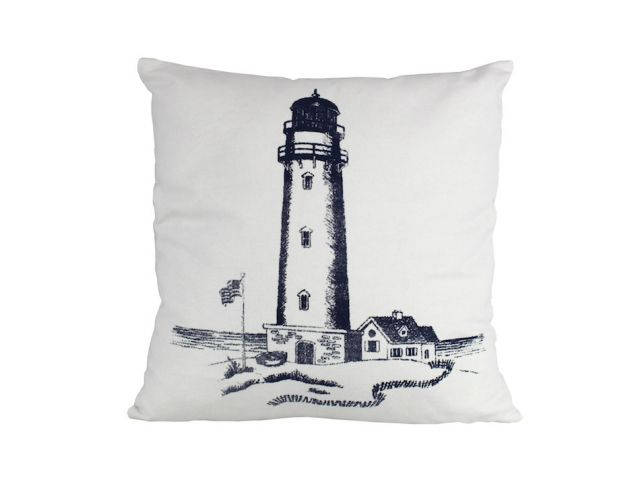 Blue Lighthouse Decorative Throw Pillow 16